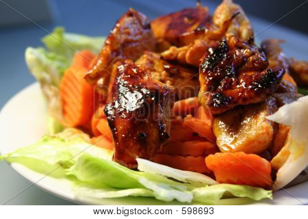 Crispy Grilled Chicken With Carrots