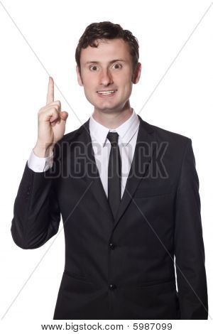 Businessman In A Black Suit Has An Idea