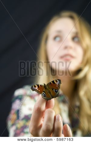 Girl And Buterfly