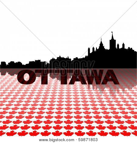 Ottawa skyline with maple leaves foreground vector illustration
