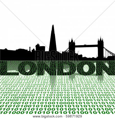 London skyline with binary foreground vector illustration
