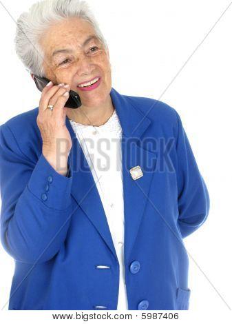 Senior Woman Enjoying A Cell Phone Conversation