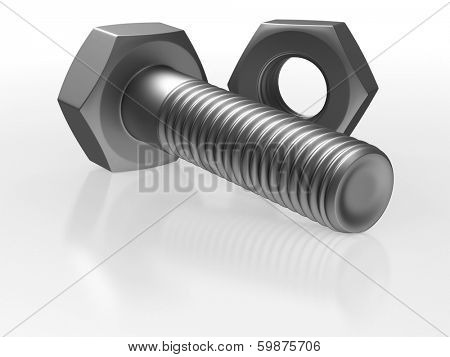 Bolt and nut on white background. Isolated 3D image