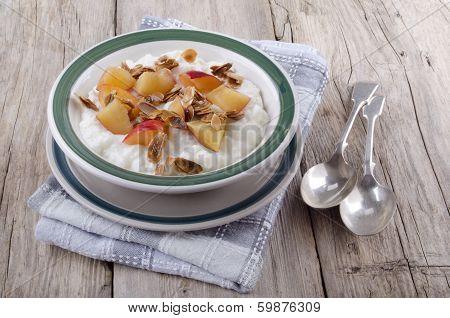 Rice Pudding And Nectarine Piece