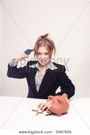 Attractive Young Businesswoman With Gun, Weapon