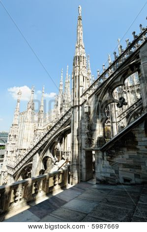 Flying Buttresss, Roof Of Milan Cathedral, Lombardy, Italy