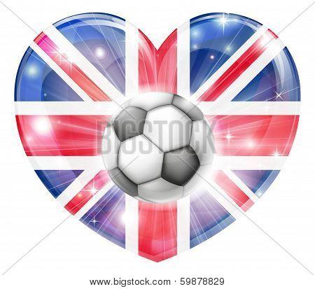 Union Jack Soccer Heart Flag