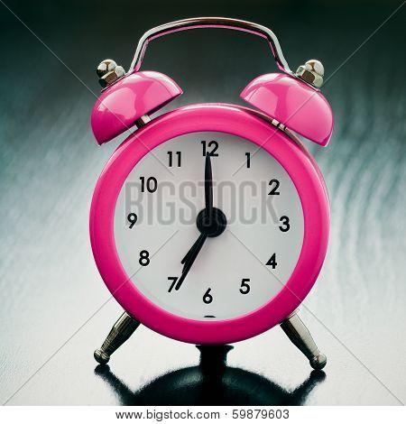 Pink Alarm Clock Close Up
