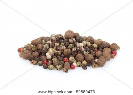 Mixed peppercorn. Isolated on white background