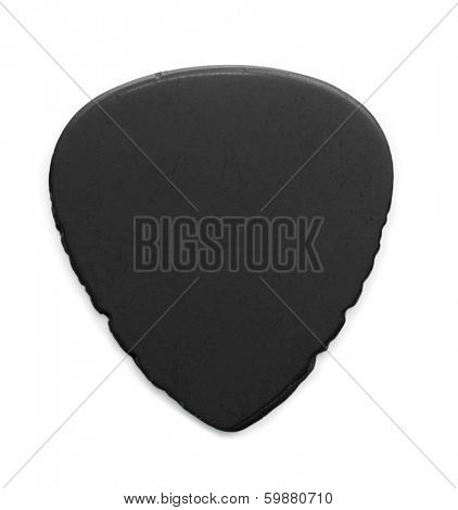 heavily worn and used black guitar pick, isolated on white. Sides have notches from heavy string sliding.