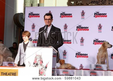 LOS ANGELES - FEB 14:  Max Charles, Ty Burrell at the Mr. Peabody honored with Pawprints in Cement at TCL Chinese Theater on February 14, 2014 in Los Angeles, CA