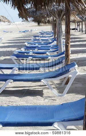 Line of sunchairs on beach