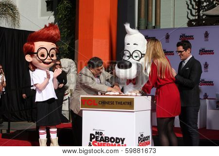 LOS ANGELES - FEB 14:  Sherman, Mr Peabody, Ty Burrell at the Mr. Peabody honored with Pawprints in Cement at TCL Chinese Theater on February 14, 2014 in Los Angeles, CA