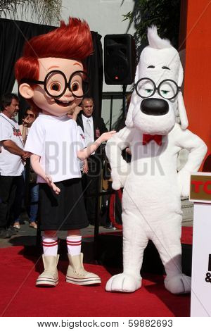 LOS ANGELES - FEB 14:  Sherman, Mr Peabody at the Mr. Peabody honored with Pawprints in Cement at TCL Chinese Theater on February 14, 2014 in Los Angeles, CA