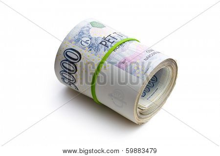 the roll of czech money on white background