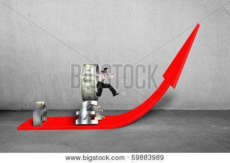 Businessman Jumping Through Money Circle Stacking On Growing Red Arrow
