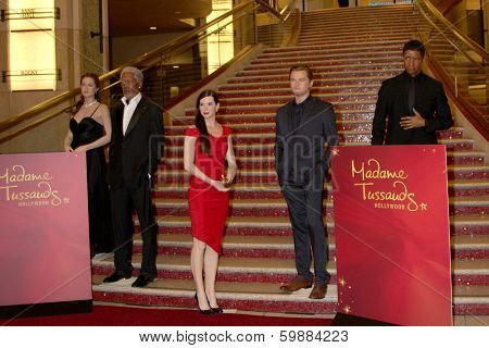 LOS ANGELES - FEB 13:  Wax fiures of A Jolie,  M Freeman, S Bullock, L DiCaprio, D Washington at the Bullock Wax Figure Unveiling by Madame Toussauds Hollywood on February 13, 2014 in Los Angeles, CA