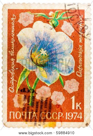 Stamp Printed In Ussr Shows Flowers