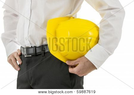 Man Carrying A Yellow Hardhat