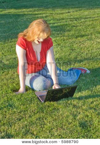 Redhead Woman Shocked While Surfing Adult Content On The Internet
