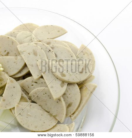 Vietnamese Sausage In Clean Dish Isolated On White
