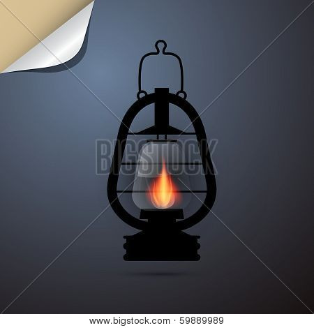 Vintage Lantern, Gas Lamp Silhouette on Paper Blue Background