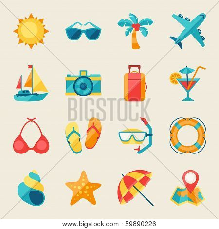 Travel and tourism icon set.
