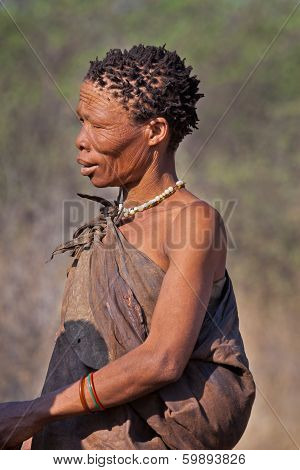 Portrate of Bushman woman in Botswana