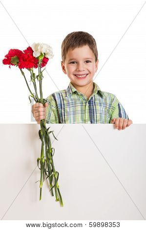 Boy with empty blank and carnations