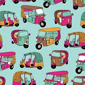 stock photo of rickshaw  - Seamless hand drawn travel illustration India auto rickshaw background pattern in vector - JPG