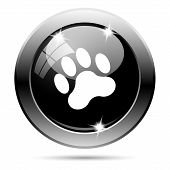 picture of bear tracks  - Metallic round glossy icon with white design on black background - JPG