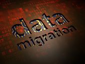 Information concept: Data Migration on digital screen background