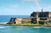 stock photo of el morro castle  - El Morro guarding the entrance to San Juan Harbor