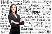 Young attractive woman over the background with a different world languages (language school concept
