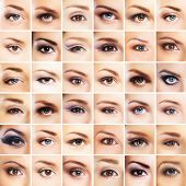 foto of ophthalmology  - Collection of many female eyes with a different makeup - JPG