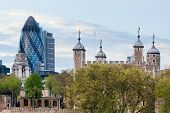 stock photo of royal palace  - The Tower of London and the 30 St Mary Axe skyscraper aka the Gherkin - JPG