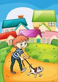 stock photo of stroll  - Illustration of a boy strolling with his pet - JPG