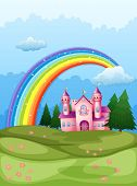 Illustration of a castle at the hilltop with a rainbow in the sky