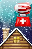 Illustration of a floating balloon with the flag of Switzerland