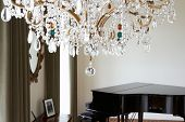 pic of grand piano  - Room In Modern House With Chandelier And Grand Piano - JPG