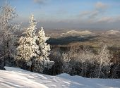 picture of ural mountains  - Winter view from the mountain Egoza in the southern Urals - JPG