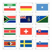 stock photo of suriname  - Flags of Somaliland South Ossetia Somalia South Africa South Georgia Solomon Islands Suriname Switzerland Slovakia Swaziland Sweden and Slovenia on Metal Texture Plates - JPG