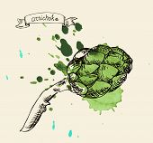 foto of artichoke hearts  - vector illustration green fresh useful eco - JPG