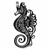 Vector Sea Horse. Patterned design