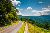 stock photo of blue ridge mountains  - Skyline Drive and view of the Blue Ridge Mountains in Shenandoah National Park Virginia.