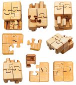 Set Of Three Dimensional Wooden Mechanical Puzzle
