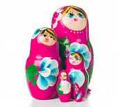 picture of doll  - Five of pink matryoshka Russian dolls on a white background in a row isolated - JPG