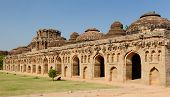 foto of vijayanagara  - Indian ancient architecture in HampI Elephant stables at the Cacred Center of Vijayanagara - JPG