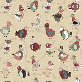 picture of turkey-hen  - abstract turkey birds and pigeons - JPG