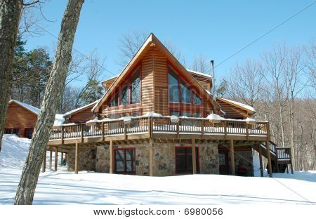 Beautiful Log Home in the Snow